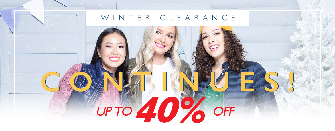 Winter Clearance Continues - Up to 40% Off!