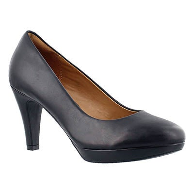 Clarks Women's BRIER DOLLY black leather dress heels