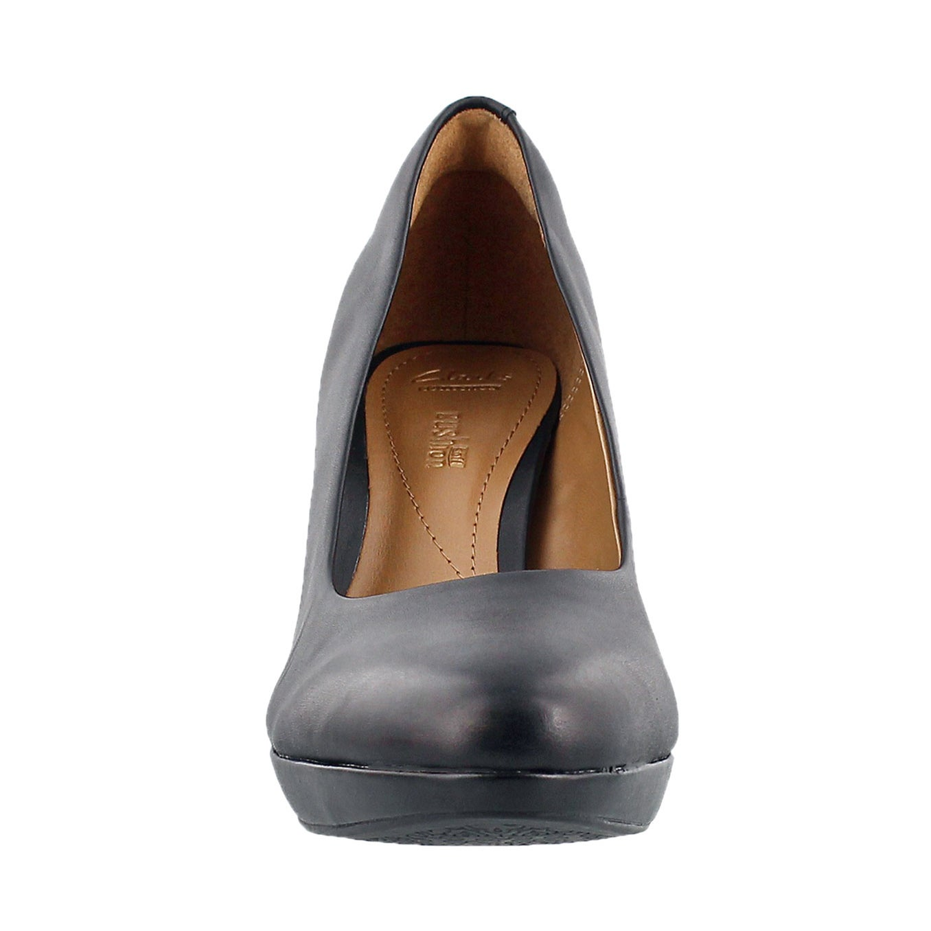 Lds Brier Dolly black leather dress heel