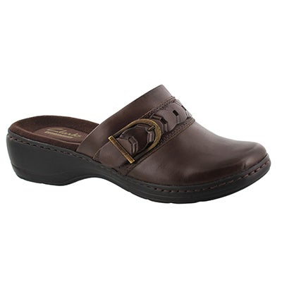 Clarks Women's HAYLA TITAN brown leather casual clogs