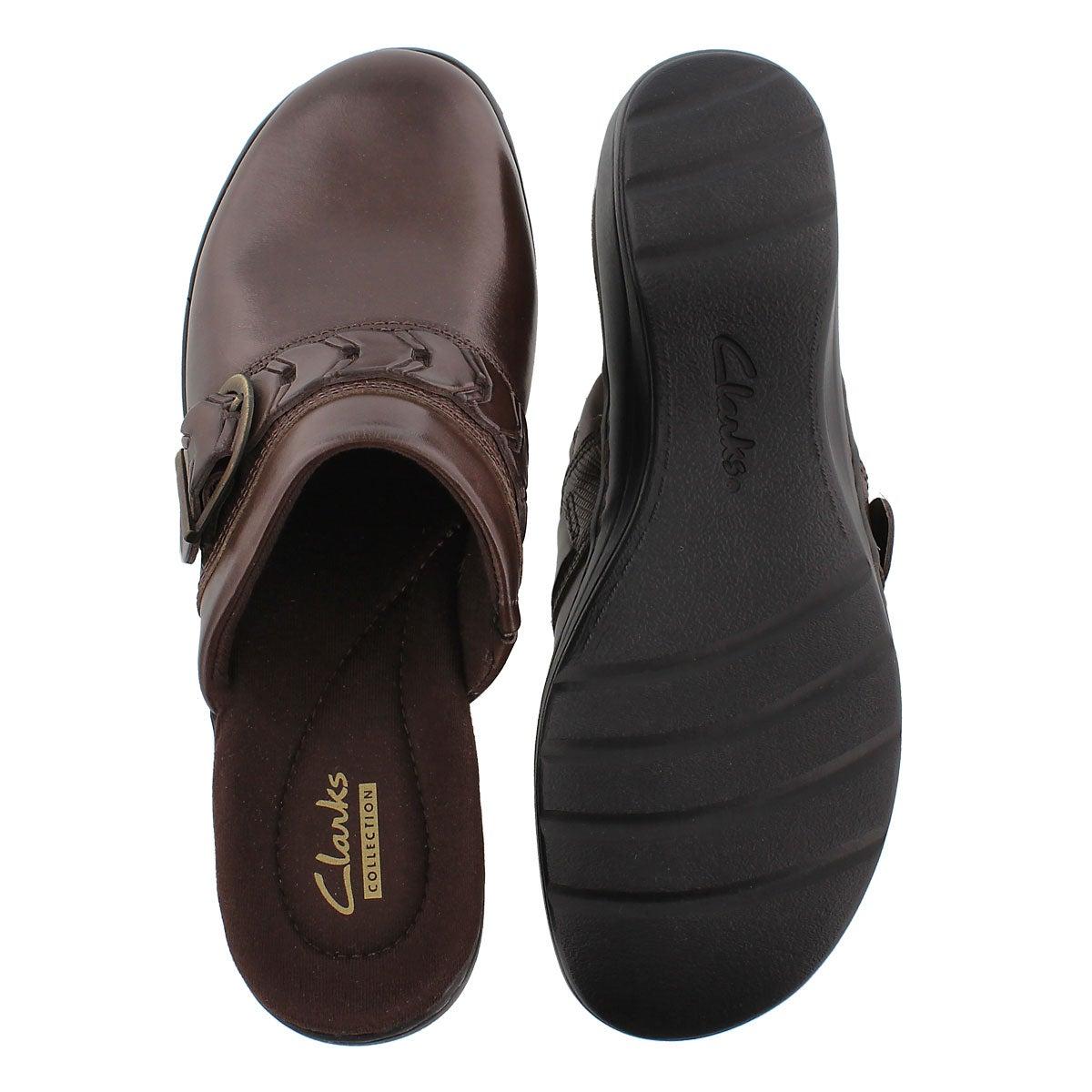 Lds Hayla Titan brn leather casual clog