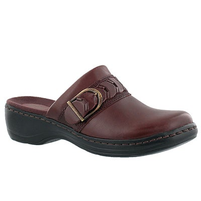Clarks Women's HAYLA TITAN burgundy leather casual clogs