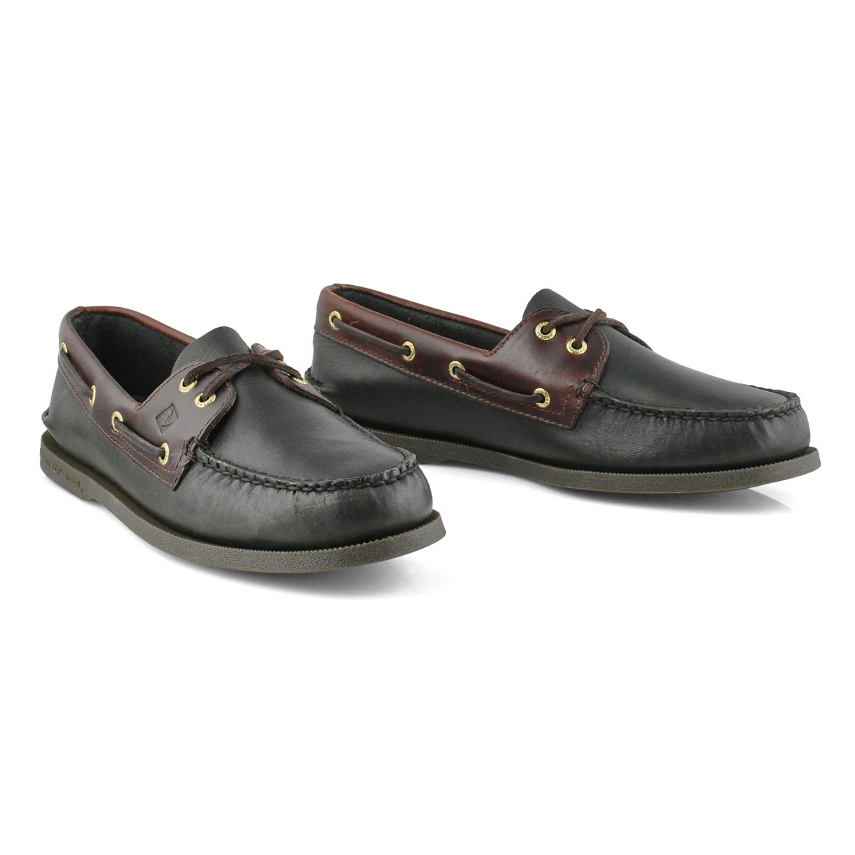 Mns A/O 2-eye black/amaretto boat shoe