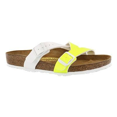 Lds Yao neon ylw/wht BF sandal
