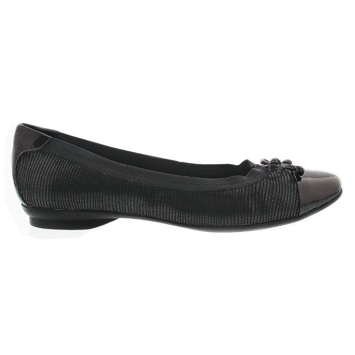 Lds Candra Glow black slip on dress flat