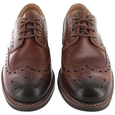 Clarks Men's MONTACUTE WING  dark tan dress shoes