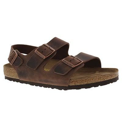 Mns Milano OLTR havana 3 strap sandal