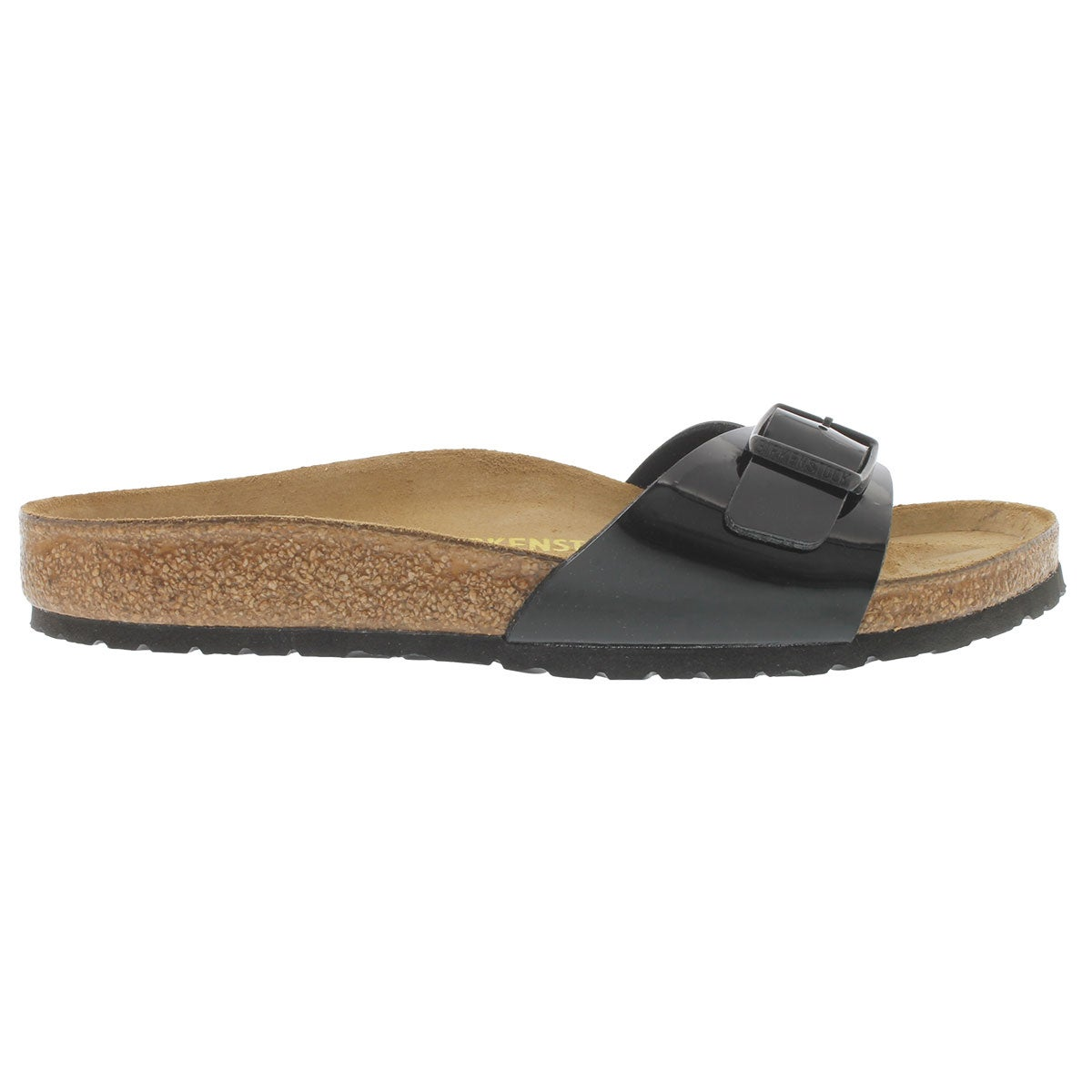 Lds Madrid black pat BF 1 strap sandal