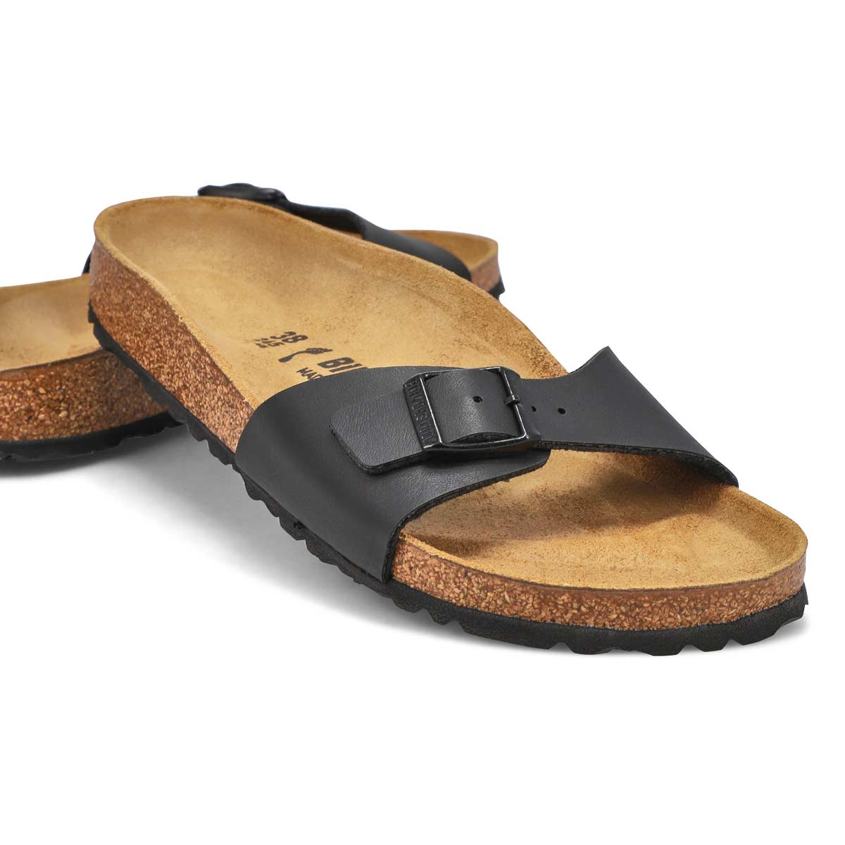 Lds Madrid BF blk 1 strap sandal- Narrow