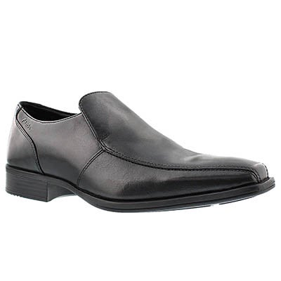 Clarks Men's FLENK STEP black slip-on dress shoes