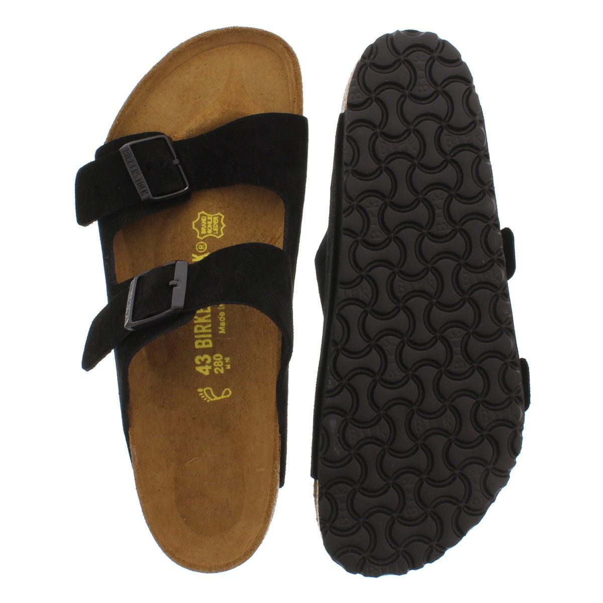 Mns Arizona black suede 2 strap sandal