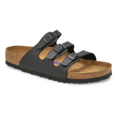 Lds Florida BF blk 3 strap sandal SF