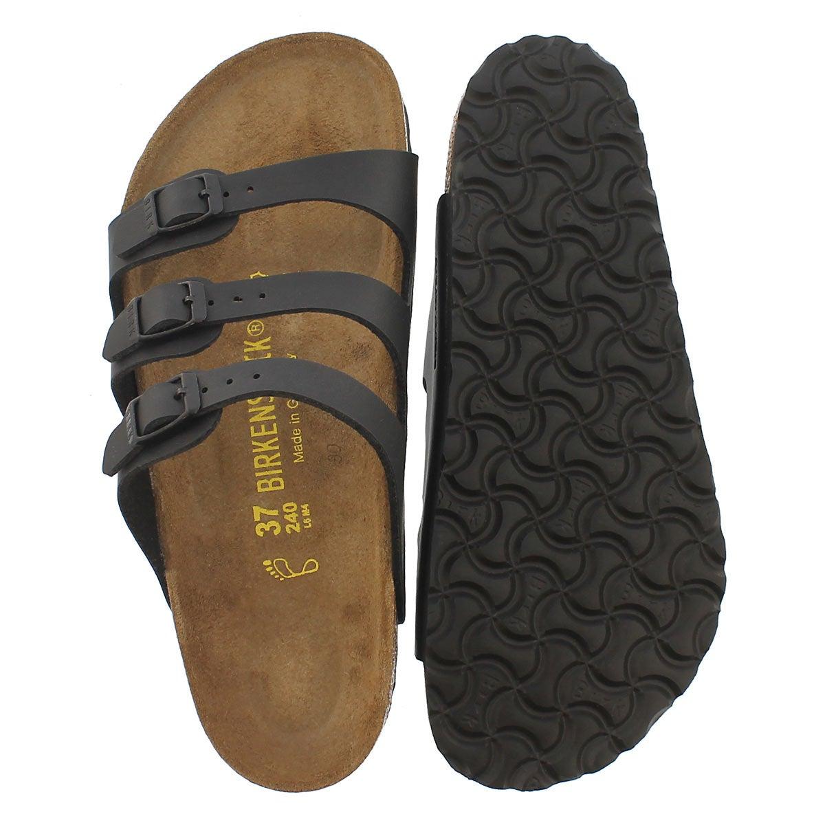 Lds Florida black 3 strap sandal
