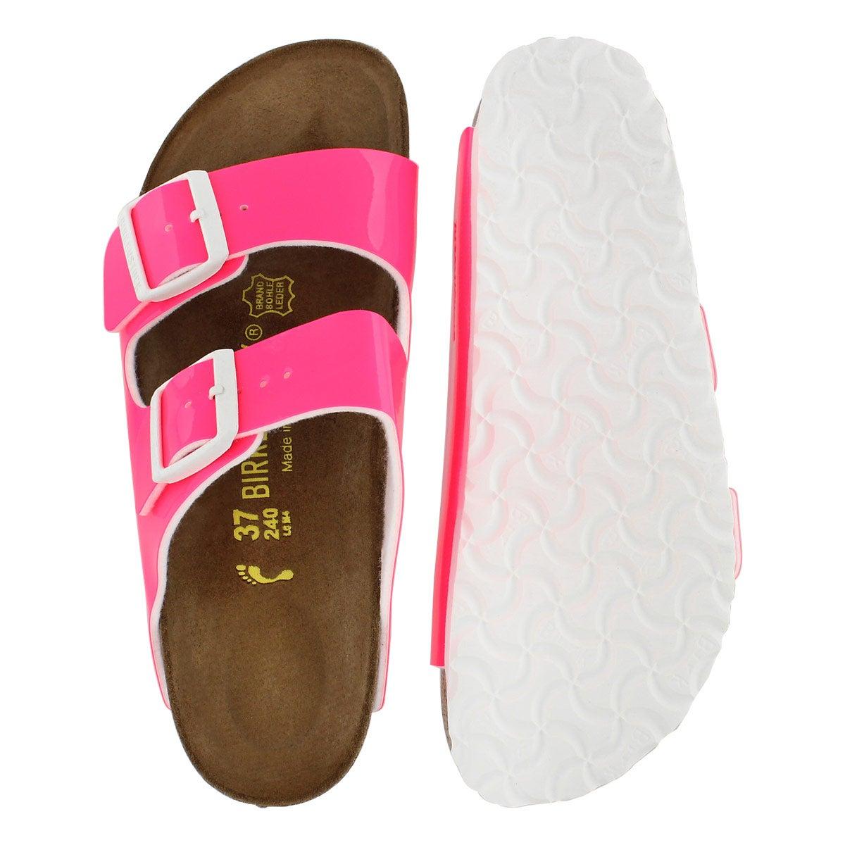 Lds Arizona neon pink 2 strap sandal-Nar