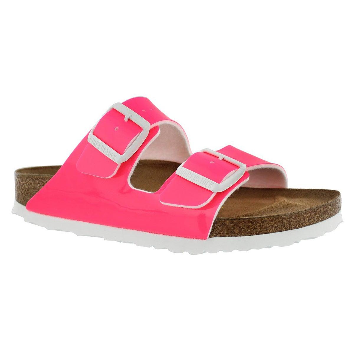 Women's ARIZONA neon pink 2 strap sandal - Narrow