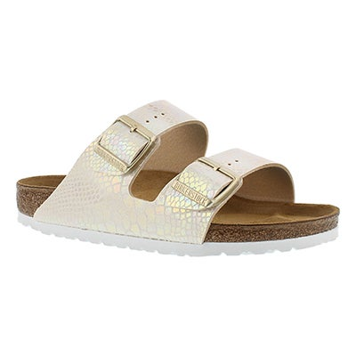 Birkenstock Women's ARIZONA  shiney snake cream sandals