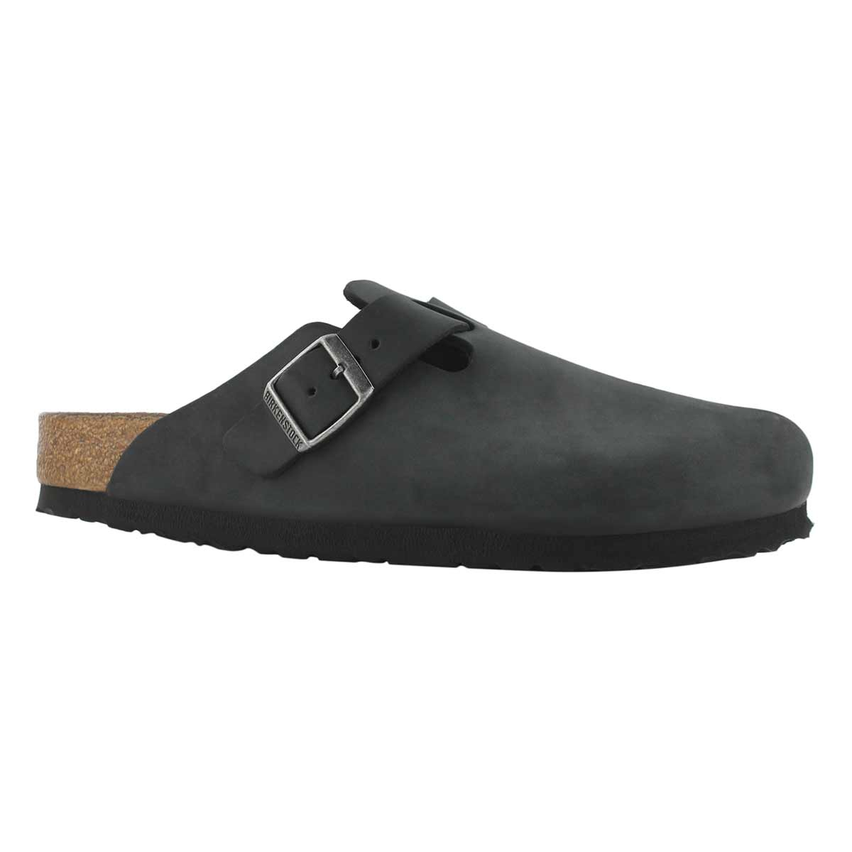 Women's BOSTON black oiled leather casual clog