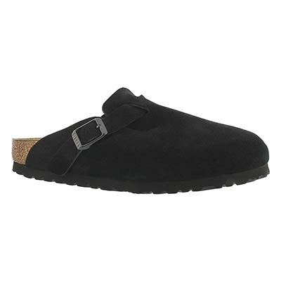 Birkenstock Women's BOSTON black suede clogs - Narrow