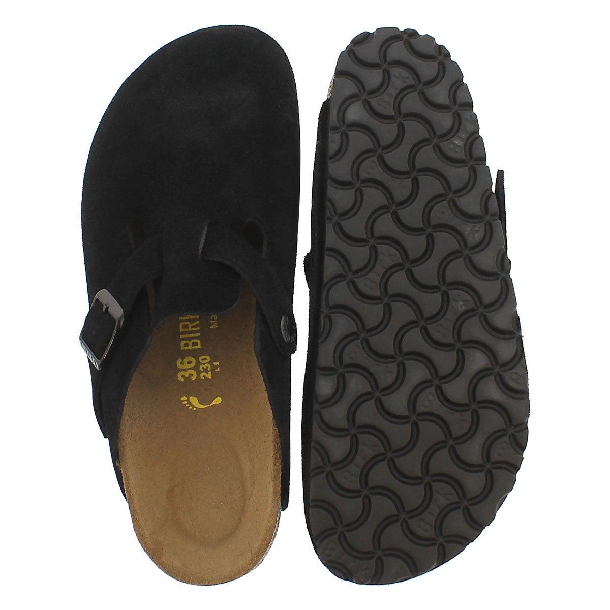Lds Boston black suede clog-N width