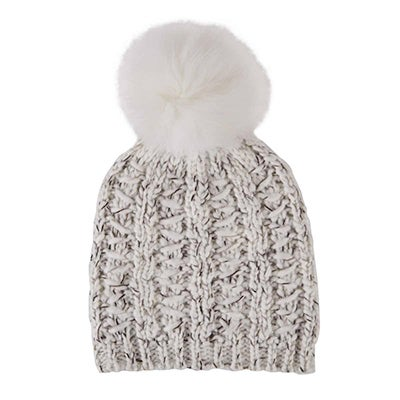 Fraas Women's CHUNKY LUREX FUR POM ivory hats