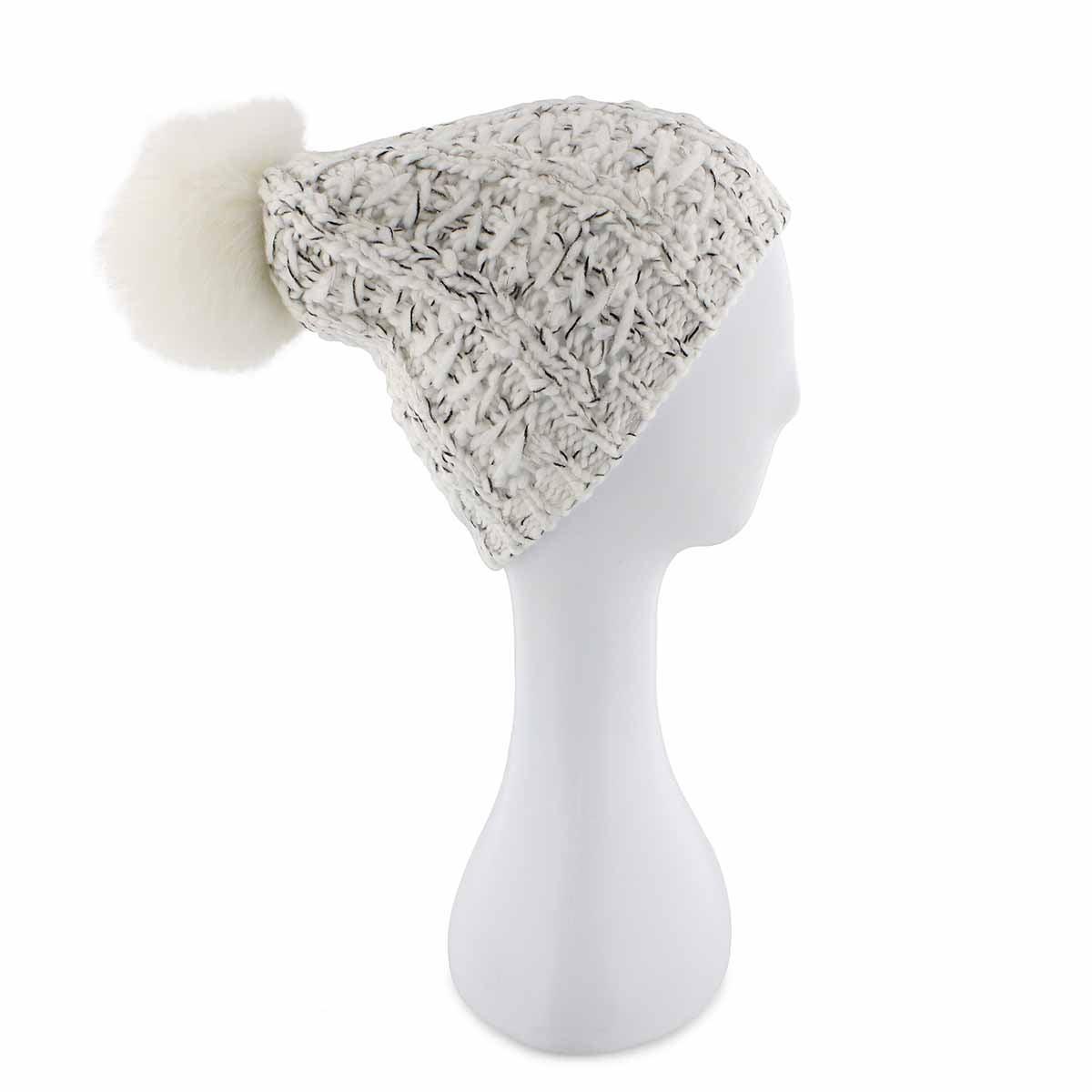 Lds Chunky Lurex Fur Pom ivory hat