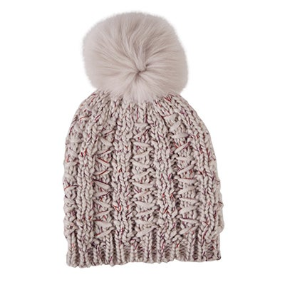 Lds Chunky Lurex Fur Pom pale pink hat