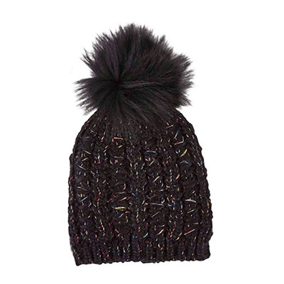 Fraas Women's CHUNKY LUREX FUR POM black hats