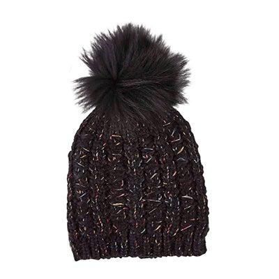 Lds Chunky Lurex Fur Pom black hat
