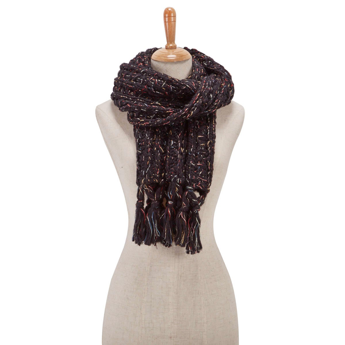 Lds Chunky Lurex black scarf