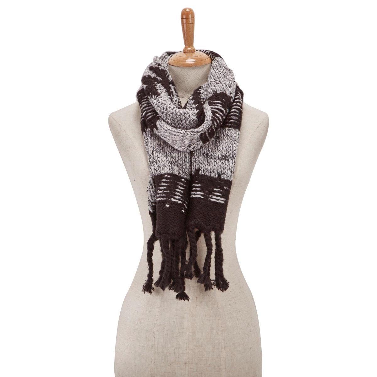Lds Chunky Zig Zag black scarf