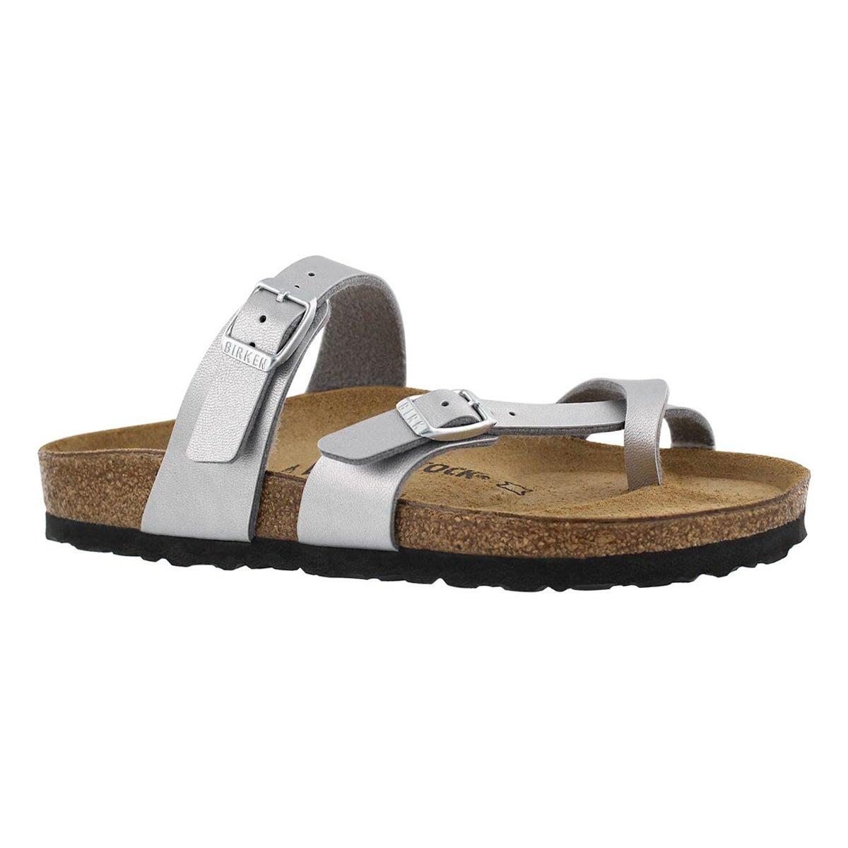 Women's MAYARI BF silver toe sleeve thong sandals