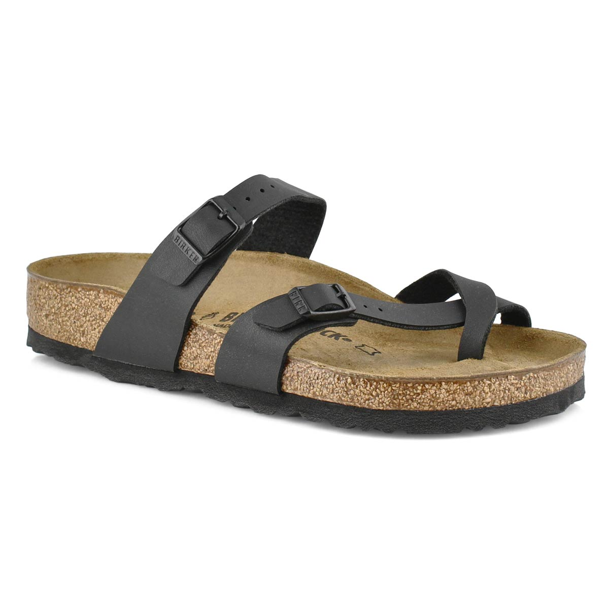 Womens MAYARI black adjustable toe loop sandals