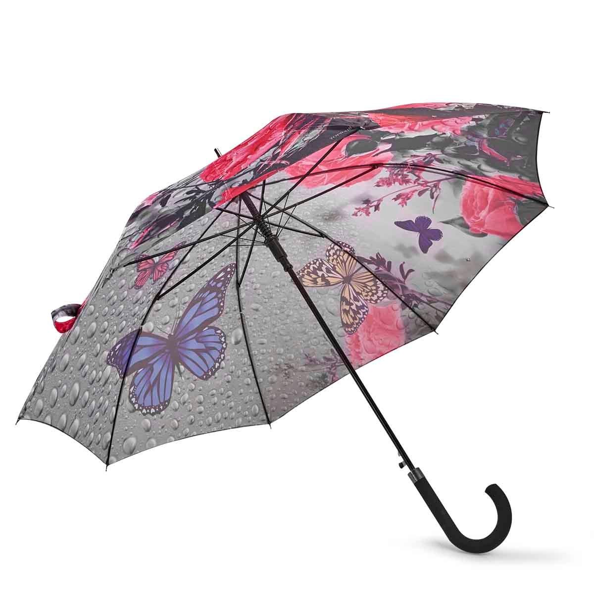 BelAmi PINK BUTTERFLY stick umbrella