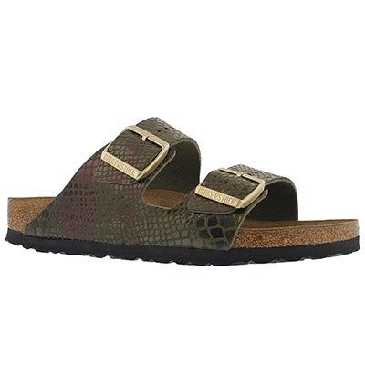 Lds Arizona shiny snk olive sandal - Nar