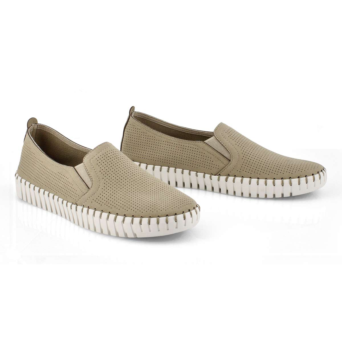 Lds Sepulveda Blvd taupe slip on sneaker