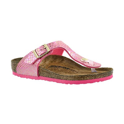 Birkenstock Girls' GIZEH shiny snake pink BF thong - Narrow