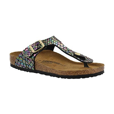 Birkenstock Girls' GIZEH shiny snake multi BF thong - Narrow