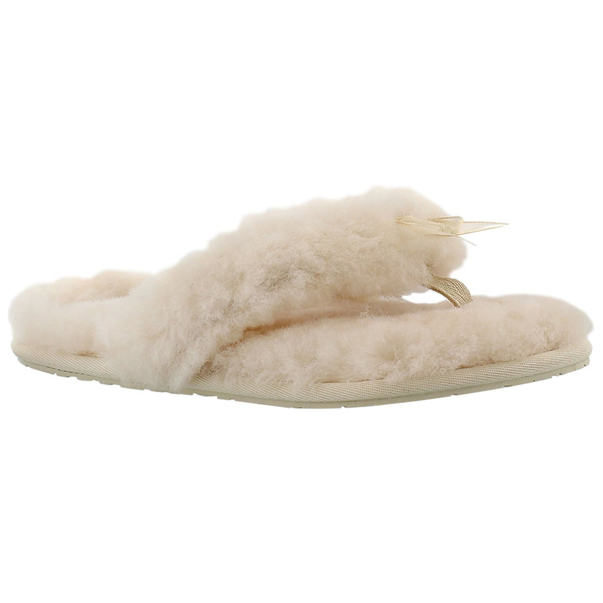 Women's FLUFF FLIP FLOP II naturl sheepskin thongs
