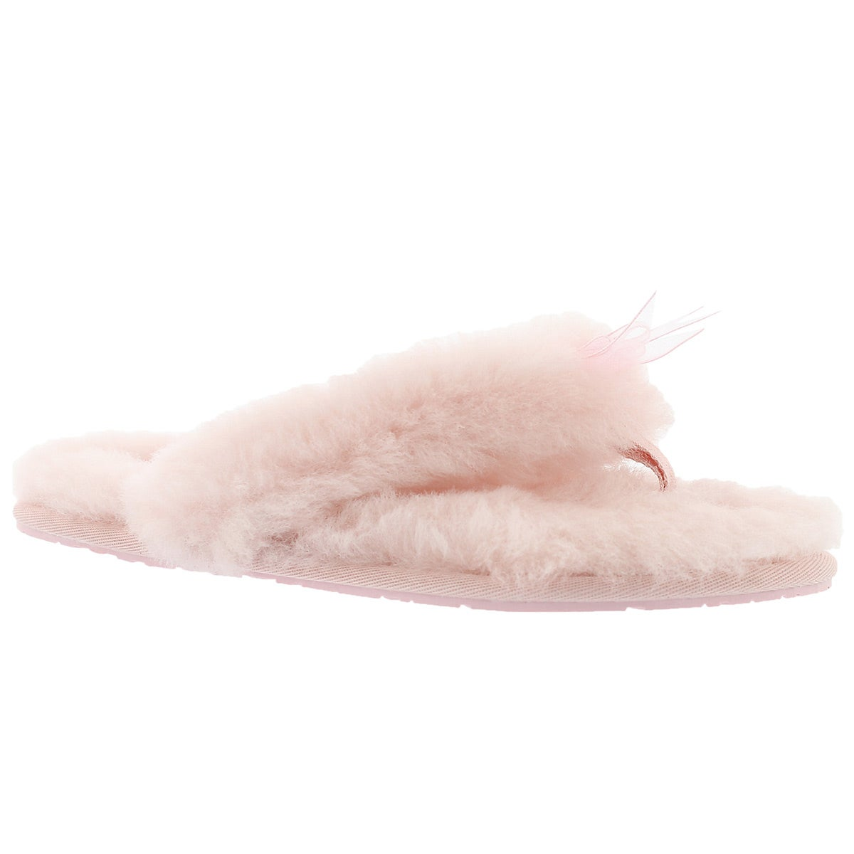 Women's FLUFF FLIP FLOP II pink sheepskin thongs