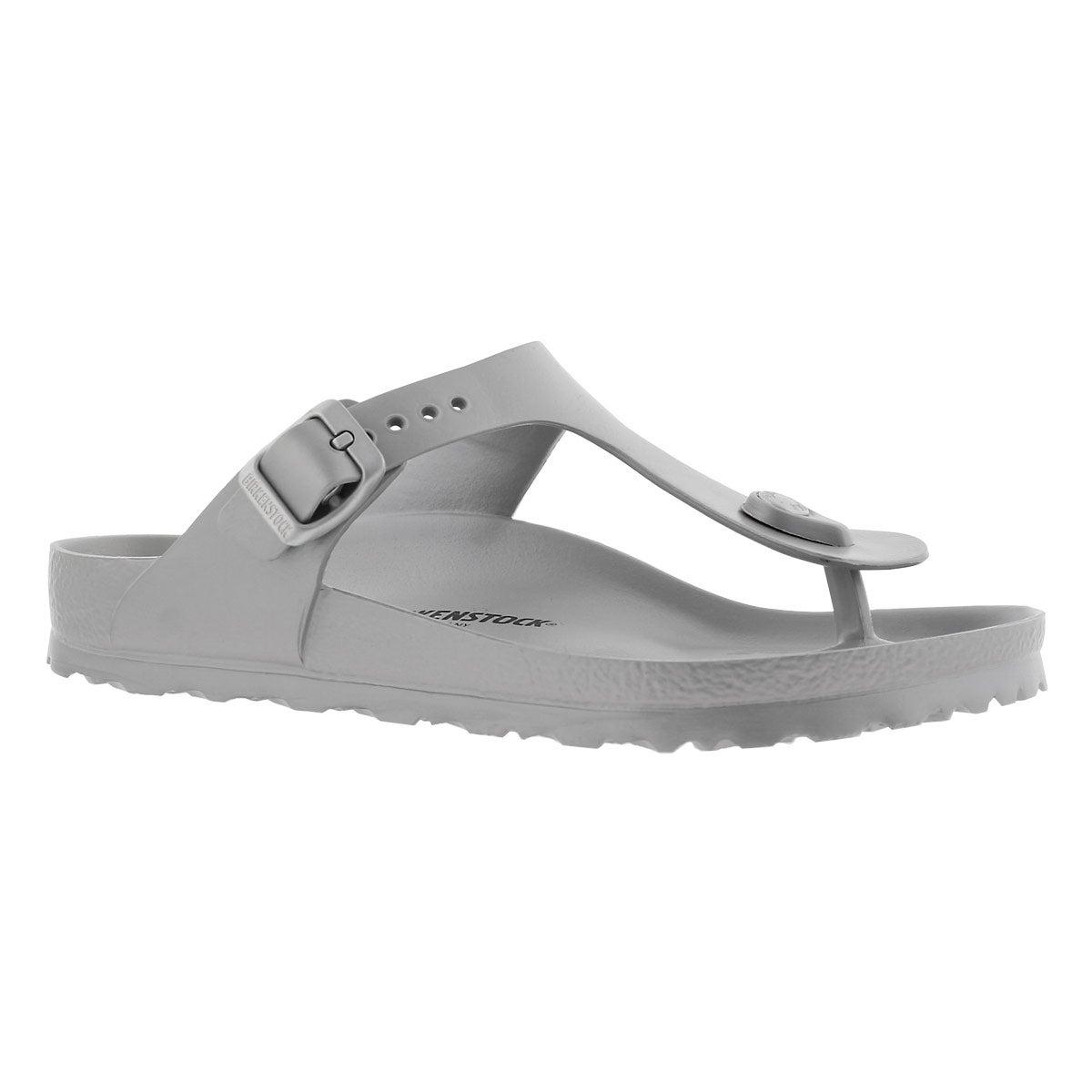Women's GIZEH metallic silver EVA thong sandals