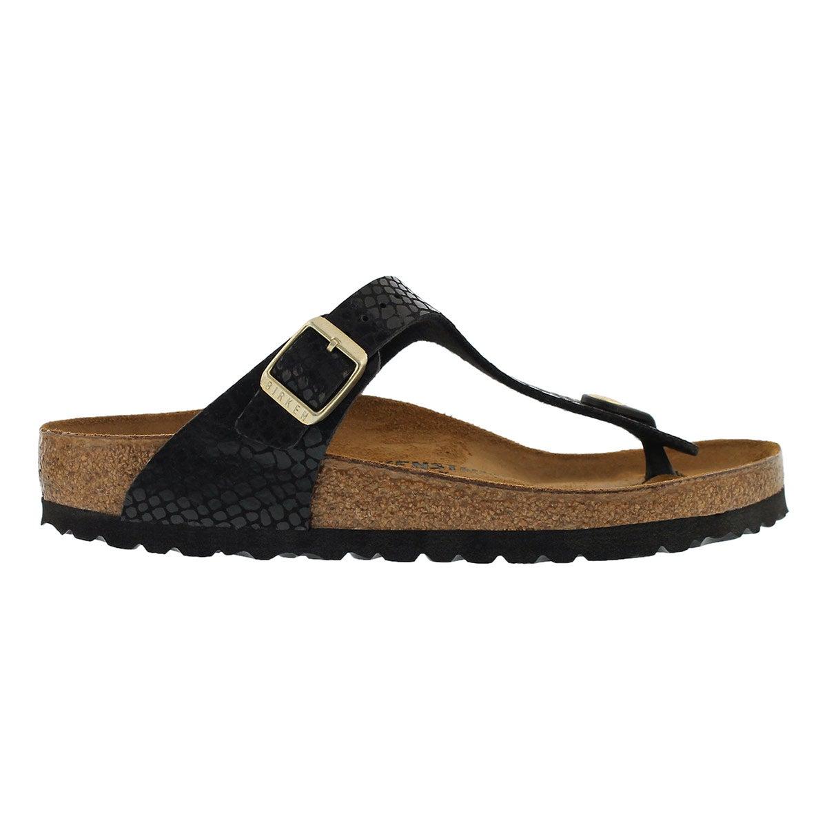 Lds Gizeh shinysnake blk BF thong sandal
