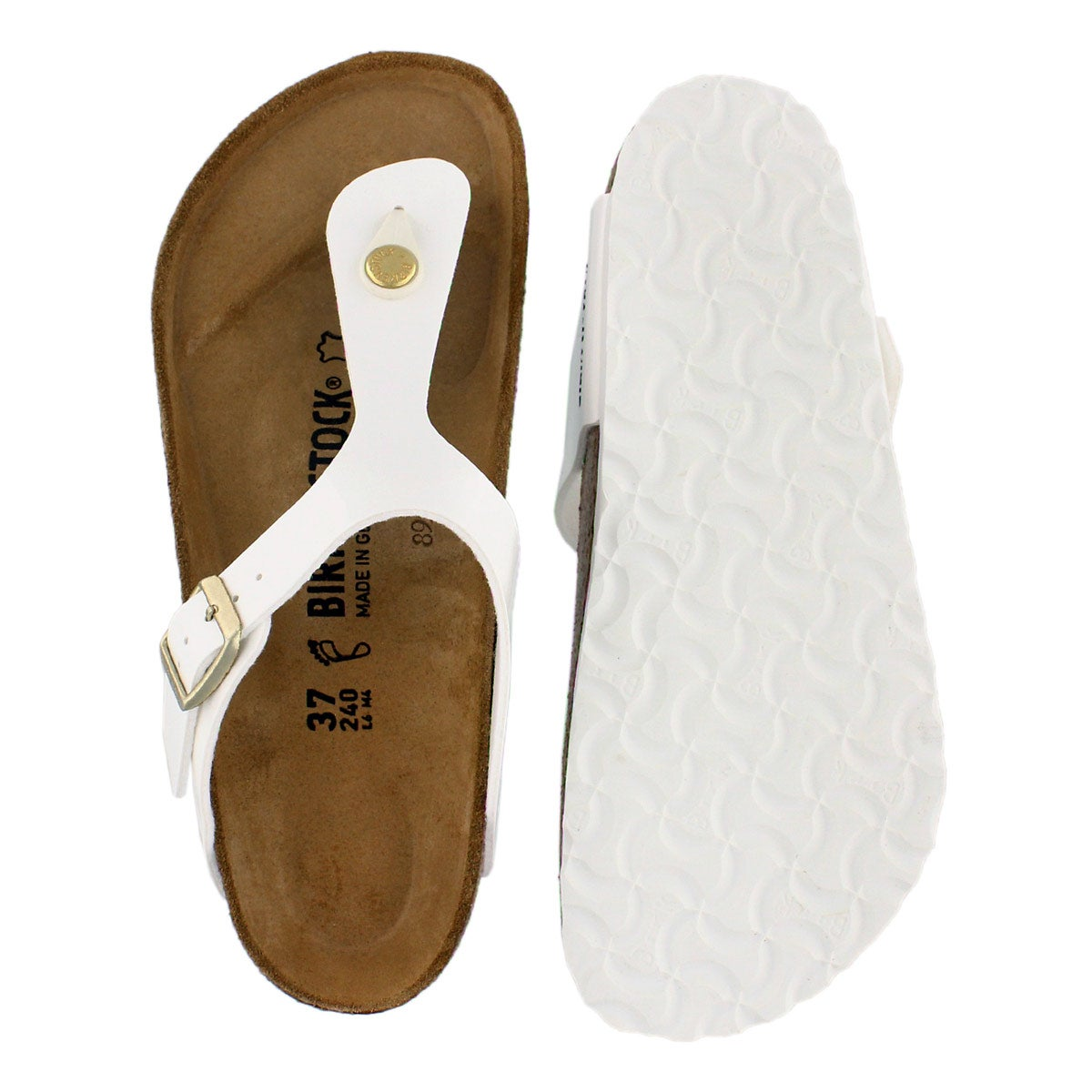 Lds Gizeh BF wht/gld buckle thong sandal