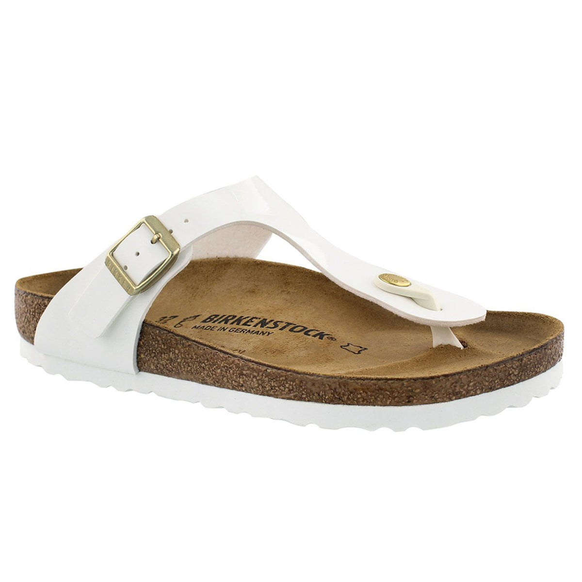 Women's GIZEH white/gold buckle BF thong sandals