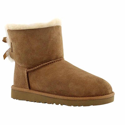 UGG Australia Girls' MINI BAILEY BOW chestnut sheepskin boots