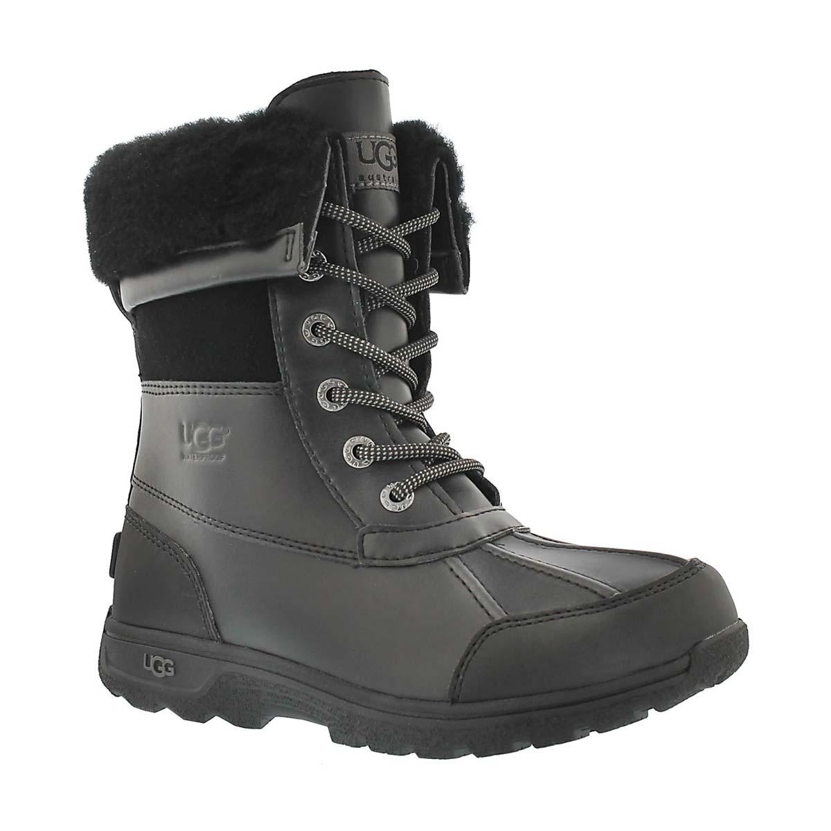 Kids' BUTTE II black waterproof winter boots