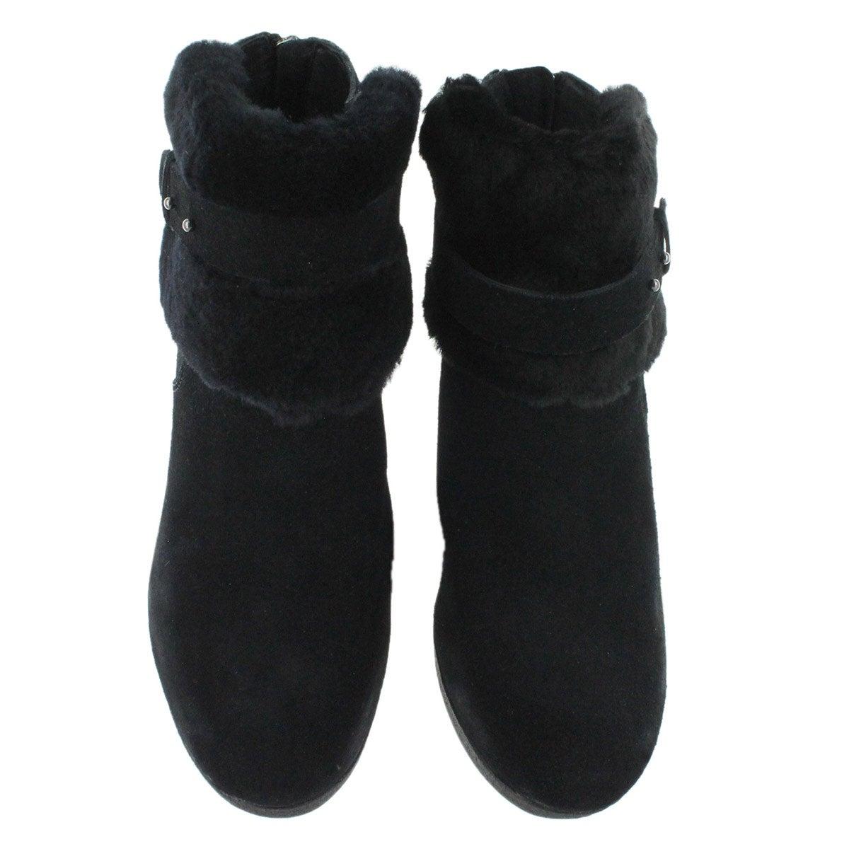 UGG Australia Women's ANTONIA black sheepskin wedge booties 1006143-BLK