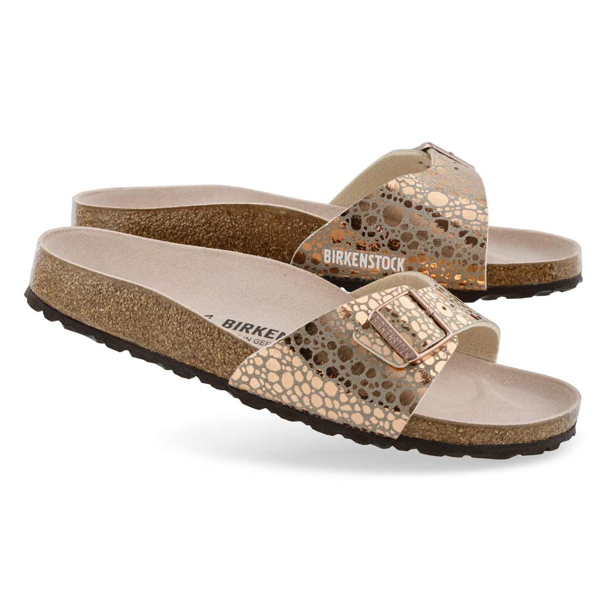 Lds Madrid BF mtlc cpr 1 strap sandal- N