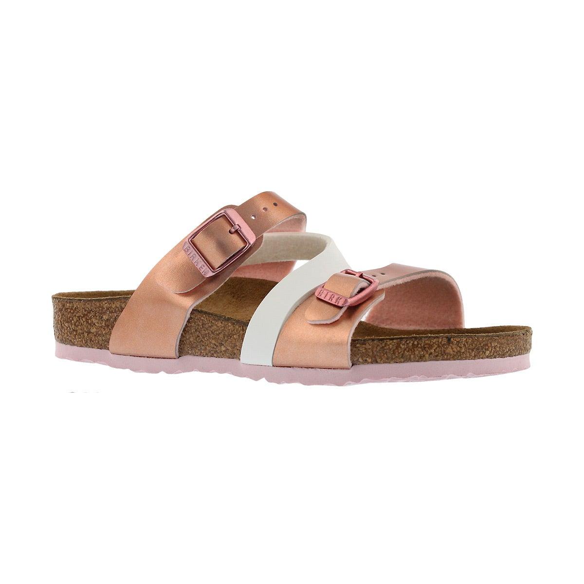Girls' SALINA BF sft metallic rose white sandals