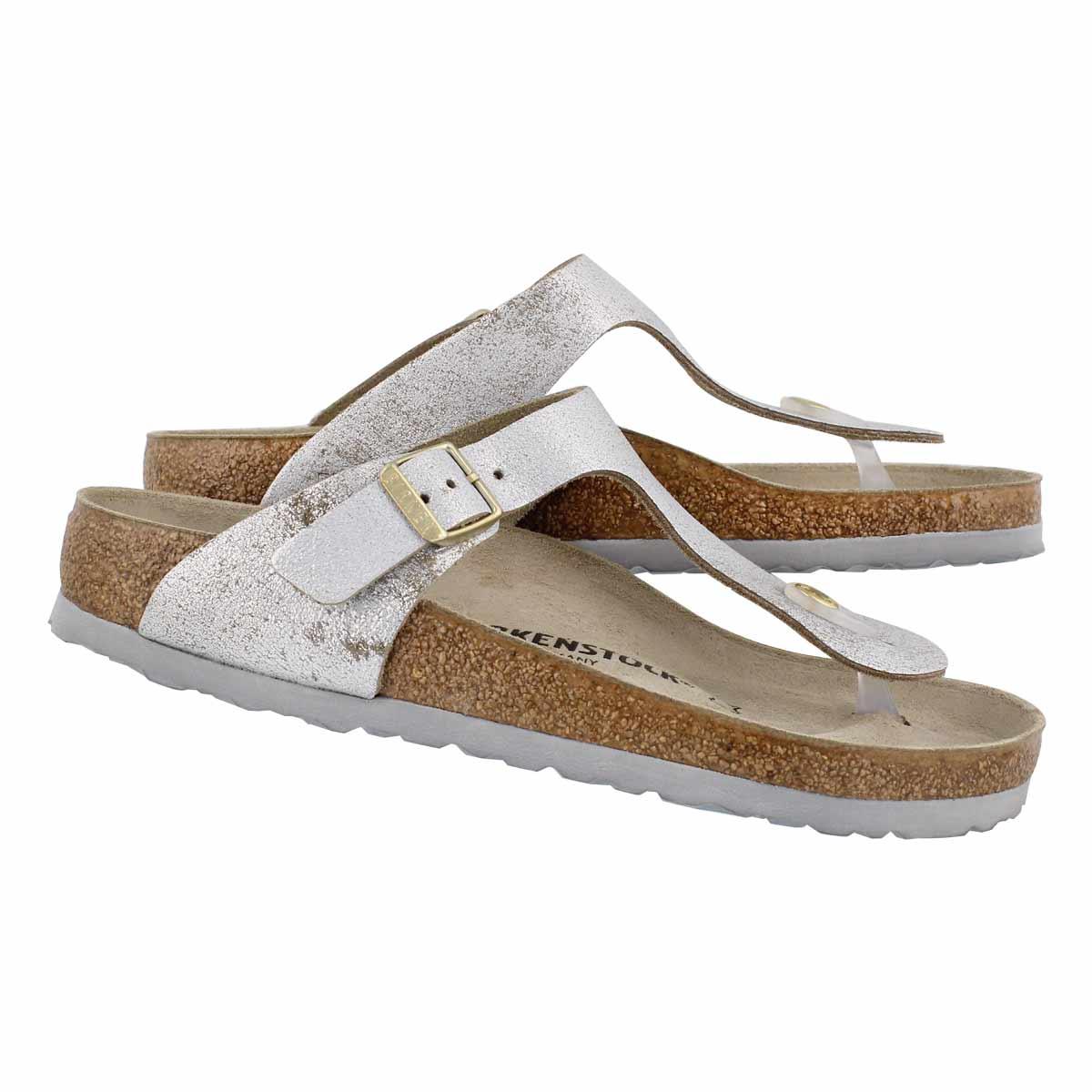 Lds Gizeh LTR wshd mtlc blu slvr sandal