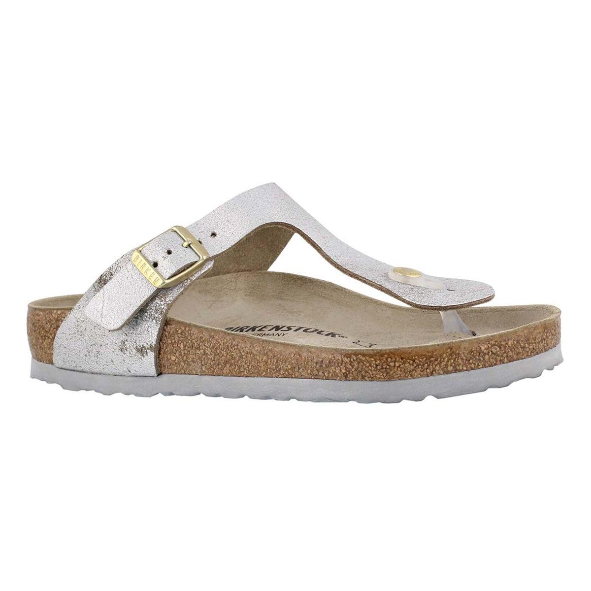 Women's GIZEH leather metallic blue/silver sandals
